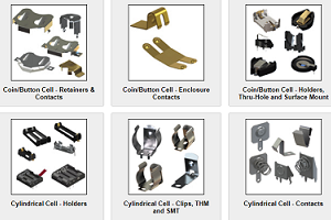 Battery & coin cell holders, contacts & clips